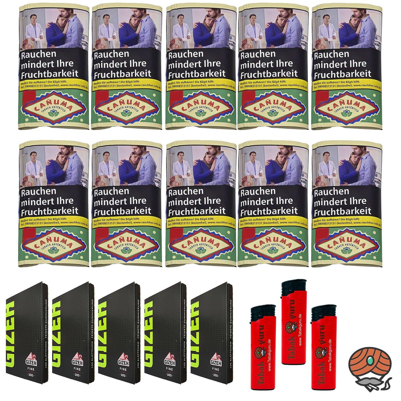 10x Canuma Drehtabak Pouch à 30g, Gizeh Black Magnet, Feuerzeuge