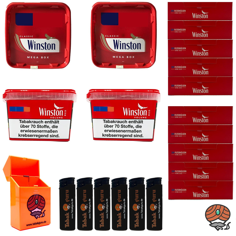 4x Winston Tabak Mega Boxes 170g, Winston Hülsen, Zubehör