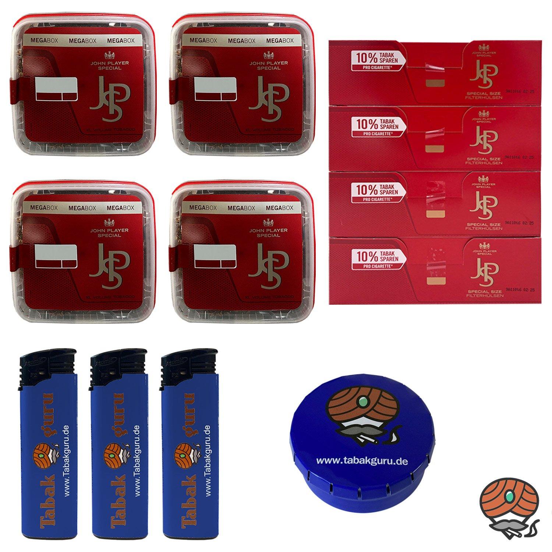 4x JPS John Player Special Mega Box Volumentabak 160g, Hülsen, Feuerzeuge und Zubehör