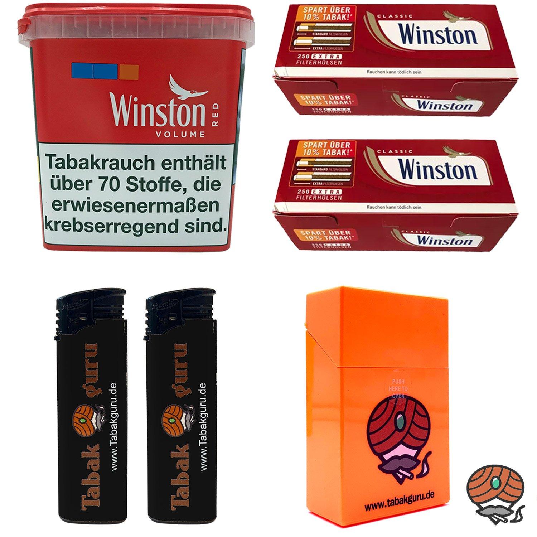 1x Winston Red/Rot Giant Box 260g Volumentabak, Extra Hülsen, Feuerz. Box
