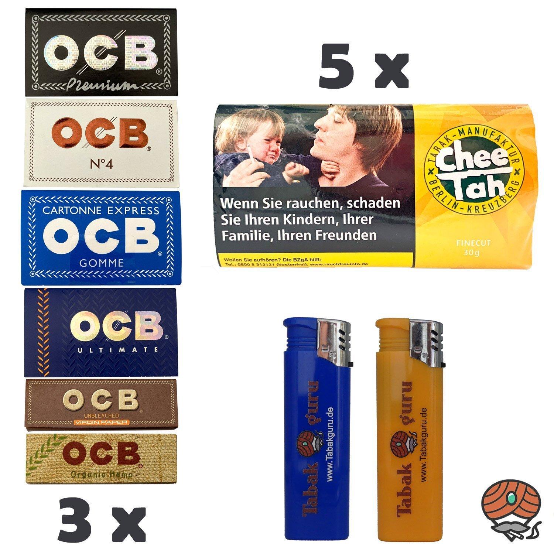 5 x Chee Tah Gelb Virginia Blend Drehtabak Pouch, 3 x OCB Papers - OCB Black