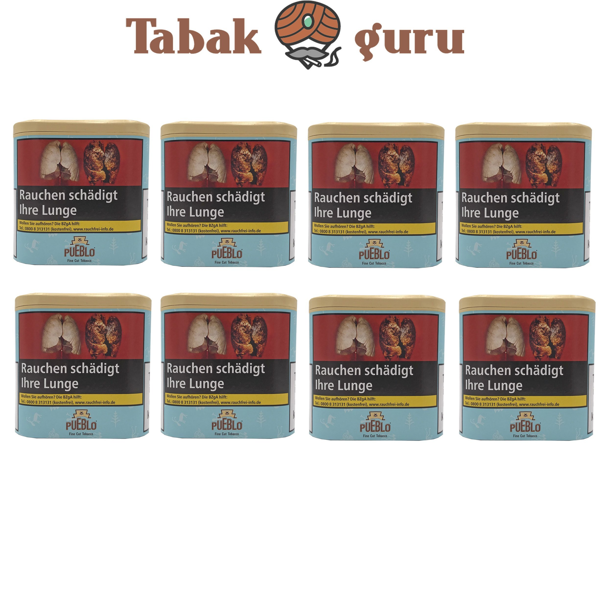 8x Pueblo Blau Feinschnitt Drehtabak Dose á 100g Tabak ohne Zusatzstoffe