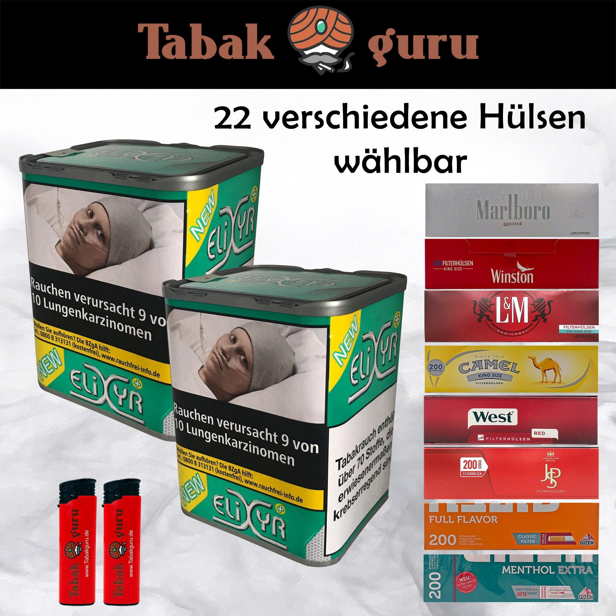 2 x Elixyr PLUS 115g Tabak + 2 Packungen Hülsen wählbar + Feuerzeuge