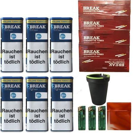 6x Break Blue/Blau XXL Volumentabak 120g, Hülsen, Feuerzeuge, Box, Aschenbecher