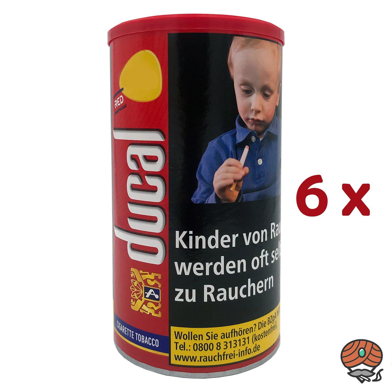 6 x Ducal Red / Rot Feinschnitt-Tabak / Zigarettentabak Dose à 200 g