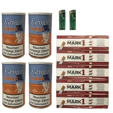 4 Farmer Tabak/Pfeifentabak 170g 1.000 Mark1 Hülsen, Feuerzeuge