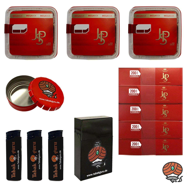 3x JPS John Player Special Mega Box Volumentabak 160g, JPS Hülsen, Feuerzeuge, Zubehör