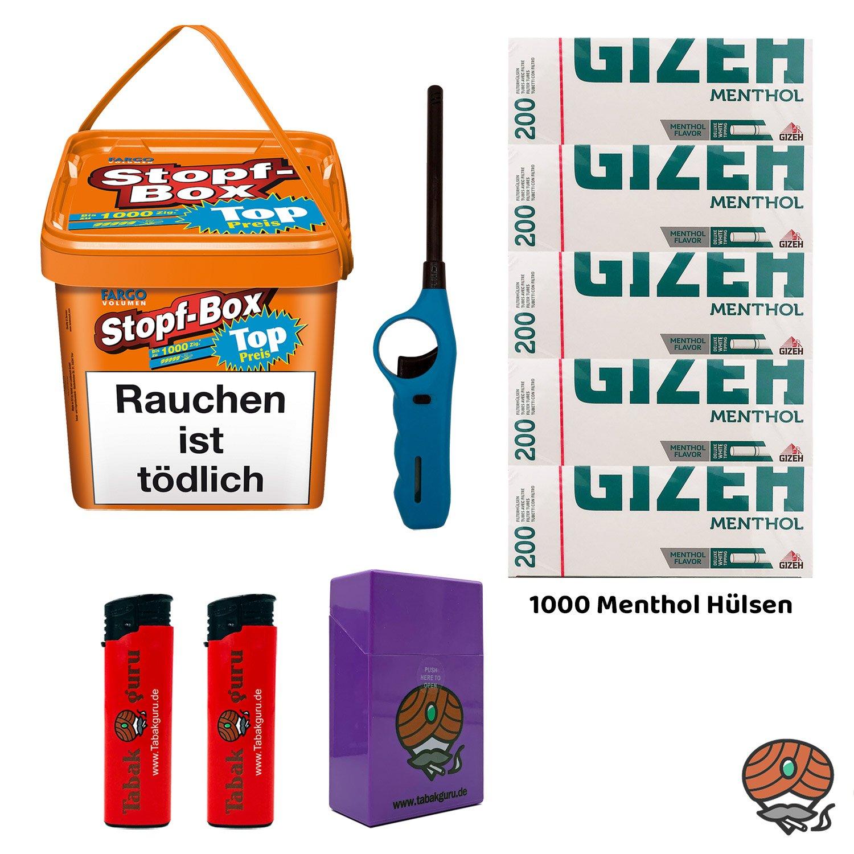 Fargo Stopf-Box 480 g Volumentabak + 1.000 Giezh Menthol Hülsen + Zubehör