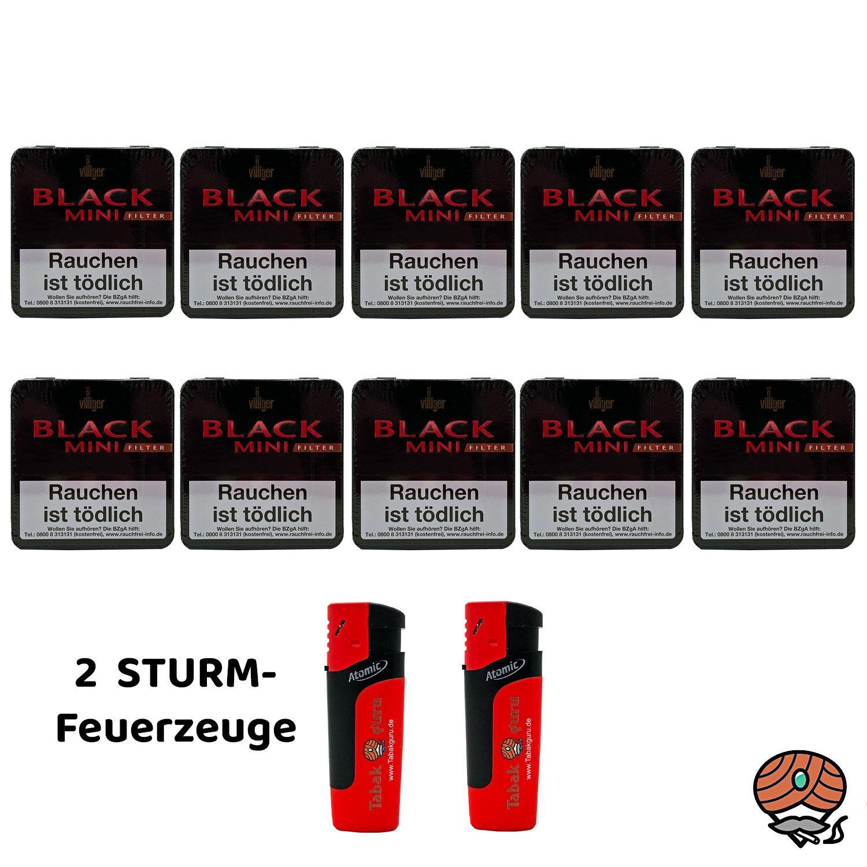 10 x Villiger Black Mini Filterzigarillos à 20 Stück + 2 Sturmfeuerzeuge