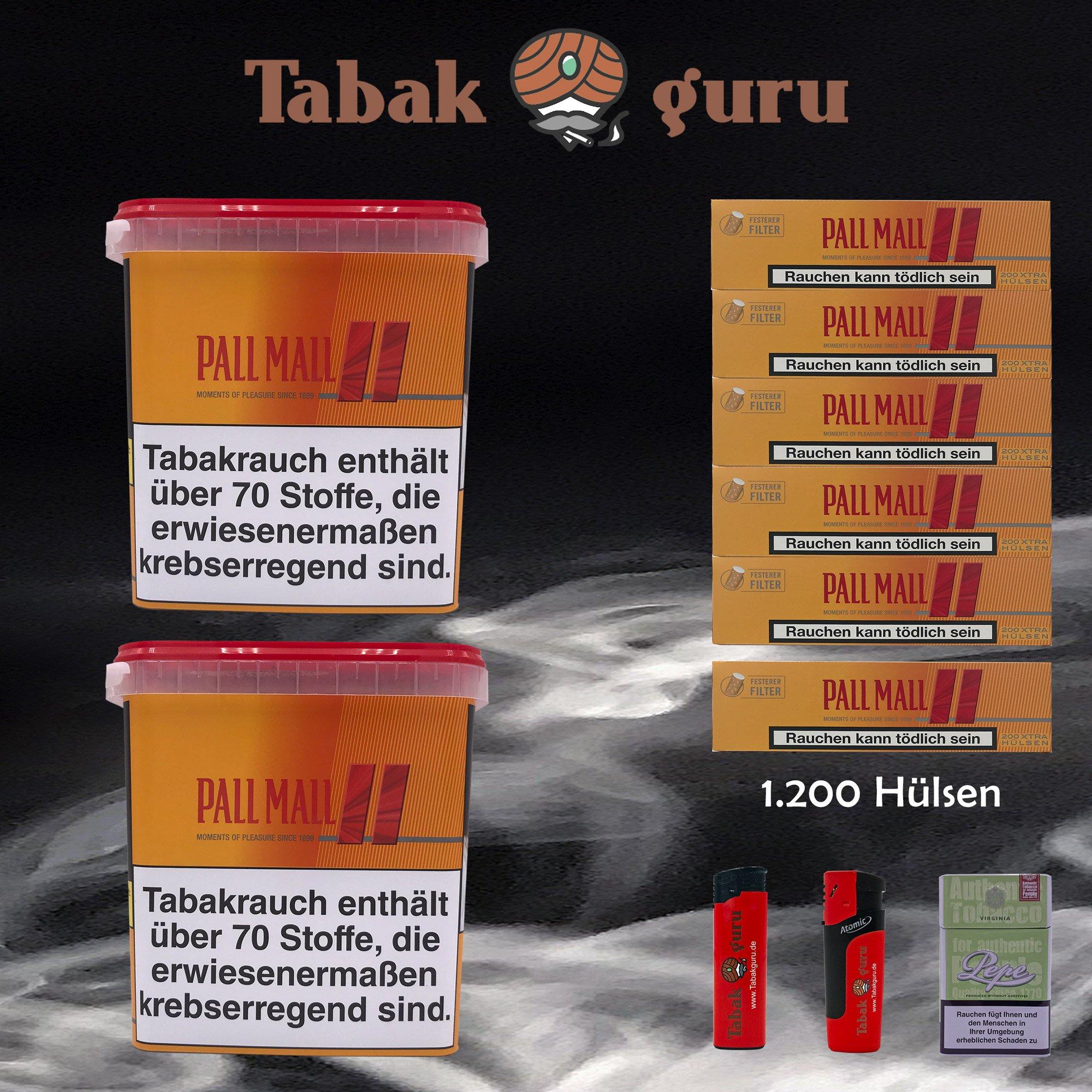 2 x Pall Mall Allround Giga Box à 280g Tabak + 1200 Pall Mall Xtra Hülsen + Zubehör