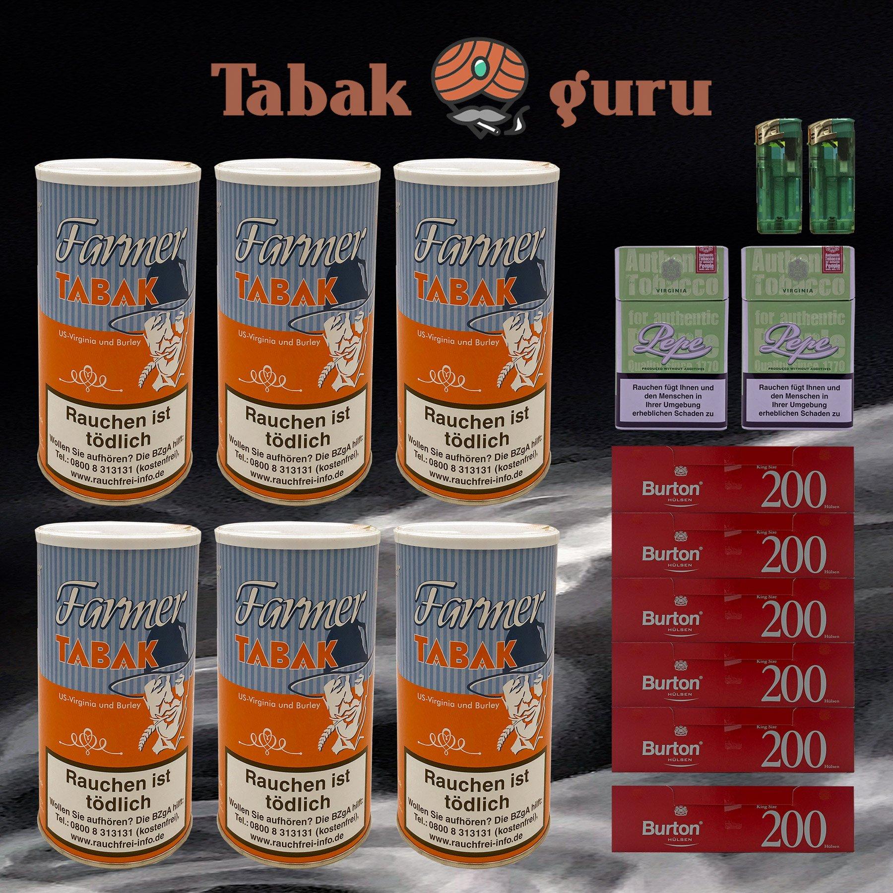 6x Farmer Tabak Dosen/ Pfeifentabak à 170g + 1.200 Burton Hülsen, Zubehör