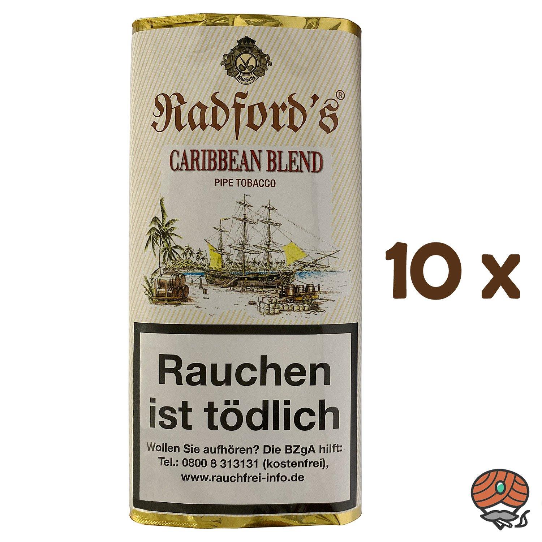 10x Radford´s Caribbean Blend Pfeifentabak Pouch à 50 g (ehem. Old Rum Royal)
