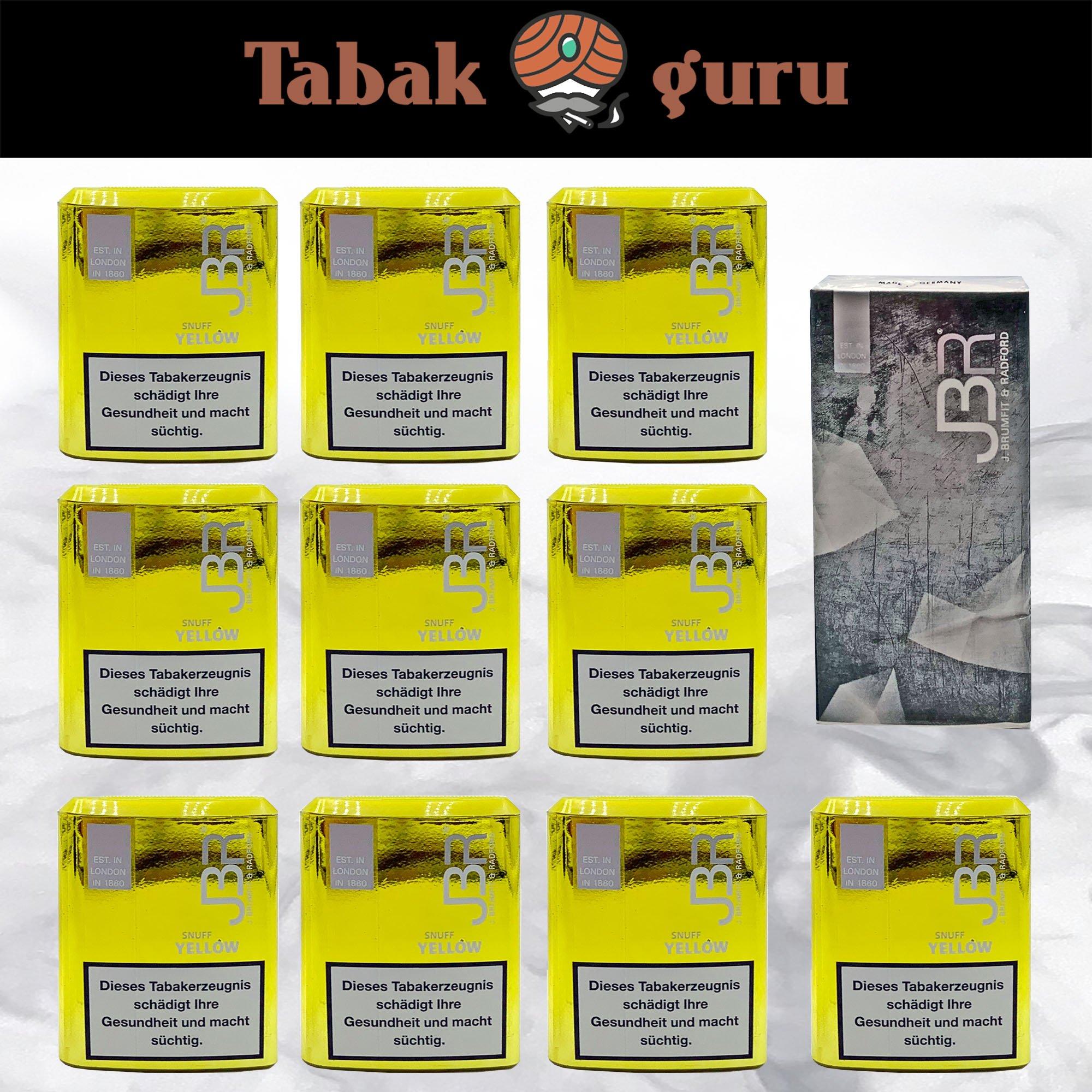 10 JBR YellowSnuff Schnupftabak + Taschentücher