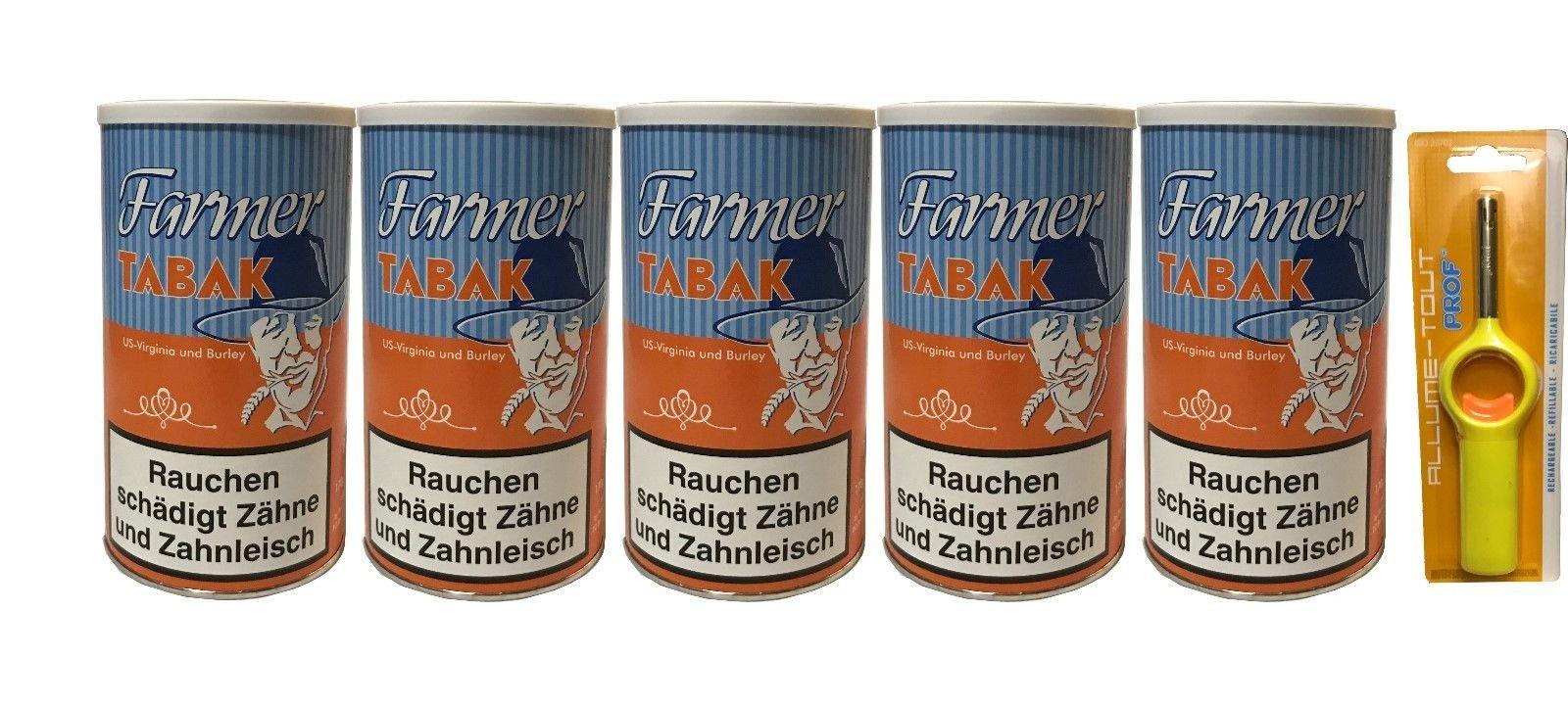 5x Dosen Farmer Tabak / Pfeifentabak á 170 g + Stabfeuerzeug