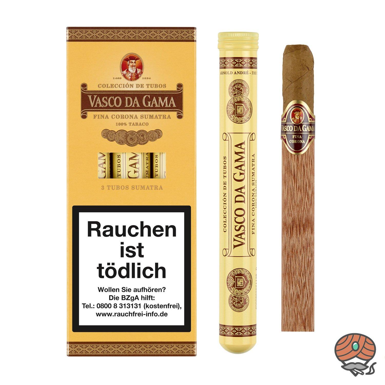 Vasco da Gama Fina Corona Sumatra Tubos 100% Tabak Inhalt 3 Stück