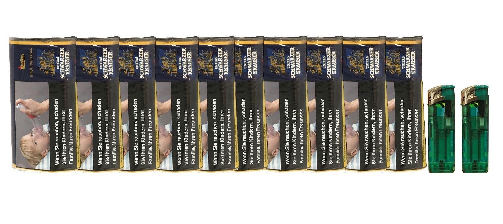 10x Pouches / Pack Schwarzer Krauser Zware Shag Drehtabak à 30 g +  Feuerzeuge