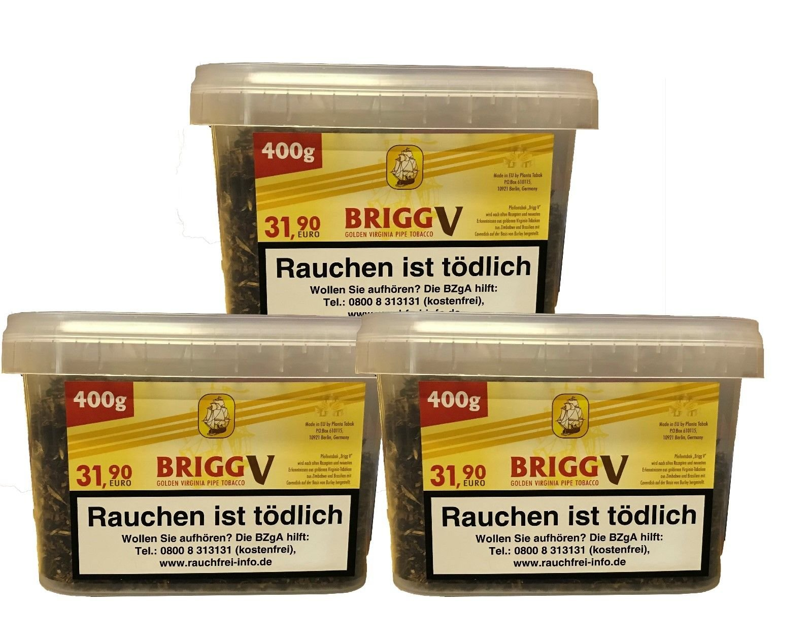 3x Brigg V Eimer Pfeifentabak à 400 g (Golden Virginia Tabak mit Vanille Aroma)
