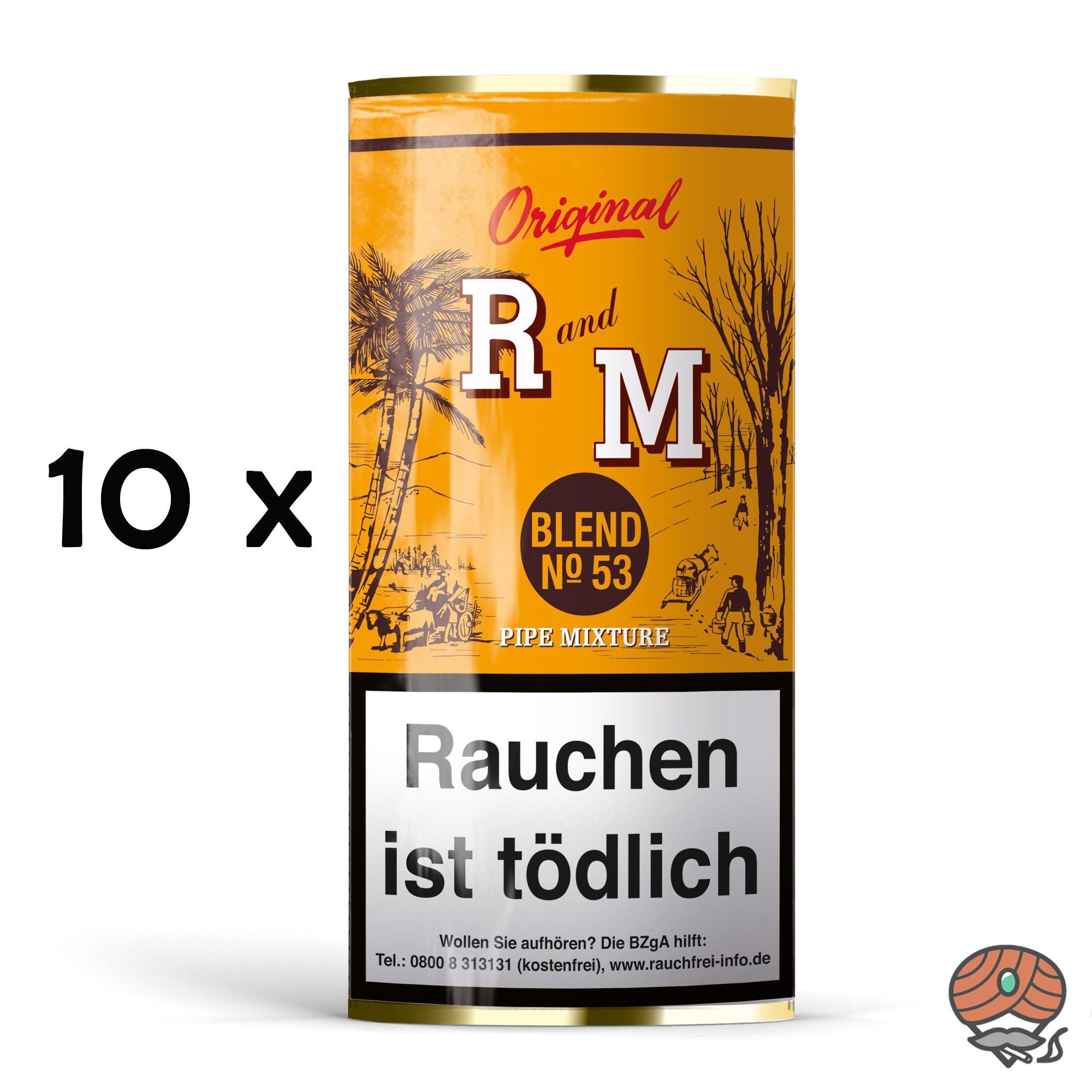 10x R und M (Rum and Maple) Original Blend No. 53 Pfeifentabak à 50g