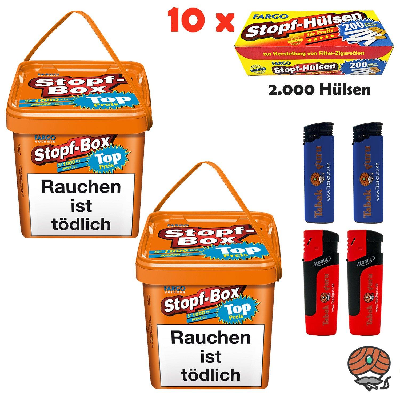 2x Fargo Stopf-Box Stopftabak / Volumentabak Eimer à 480g + 2.000 Fargo Hülsen + Zubehör
