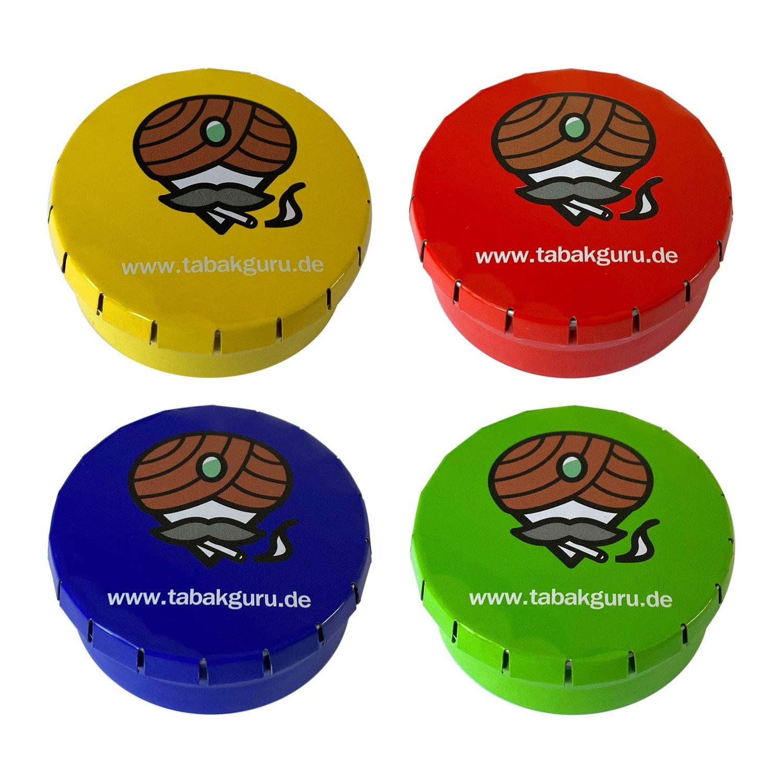 4er SET Taschenaschenbecher aus Metall für unterwegs: rot, gelb, blau, grün