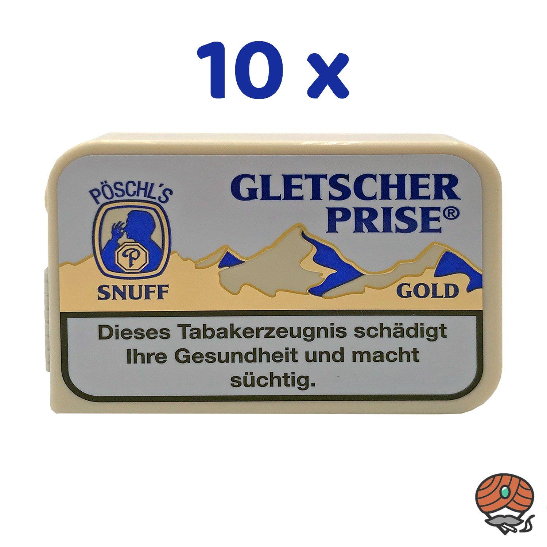 10 x Gletscherprise Gold Snuff Schnupftabak Dose à 10g