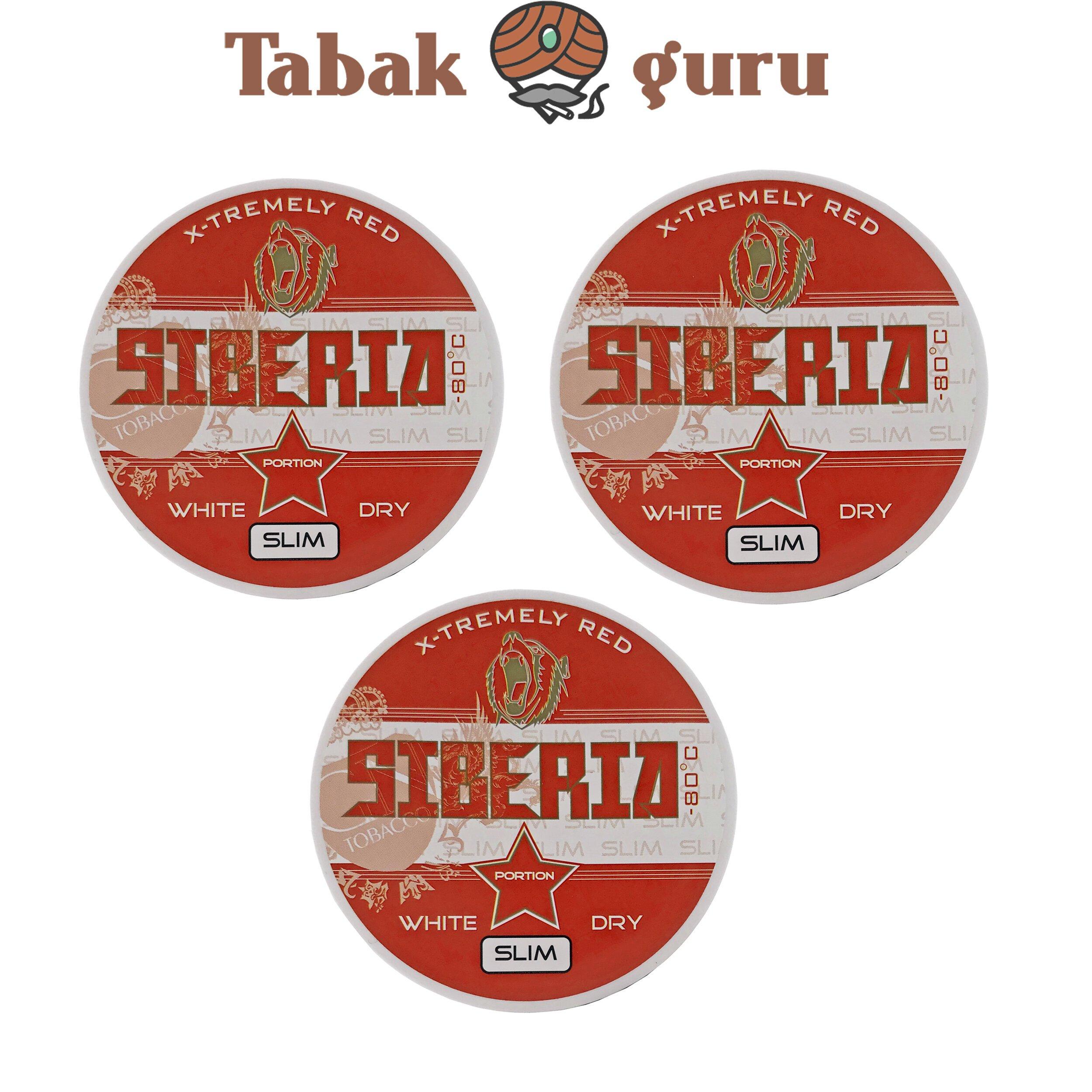 3x Siberia 80° Extremely Red White Dry Slim Kautabak Dose