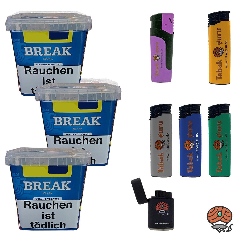 3 x Break Blue / Blau Volumentabak Giga Box 230 g + Zubehör