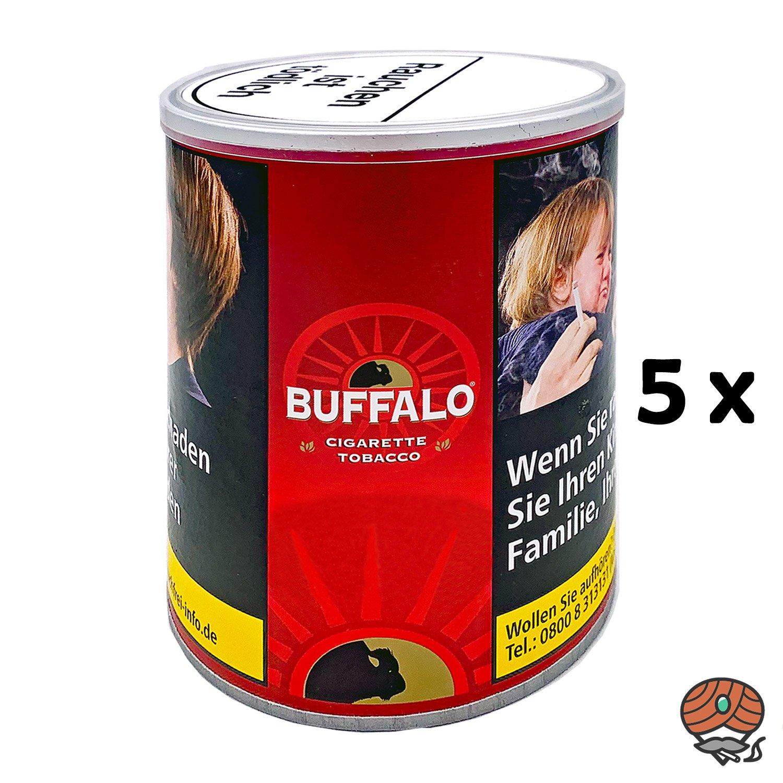 5x Buffalo Red / Rot Feinschnitt Zigarettentabak / Drehtabak 150g Dose