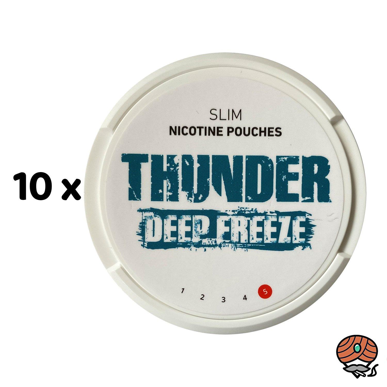 10 x THUNDER Deep Freeze SLIM Extra Strong - Nikotinbeutel / Nicotine Pouches, Kautabak Snus