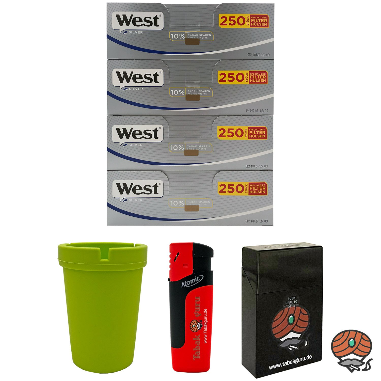4 Pack West Silber Extra Filterhülsen + Autoaschenbecher + Zubehörartikel