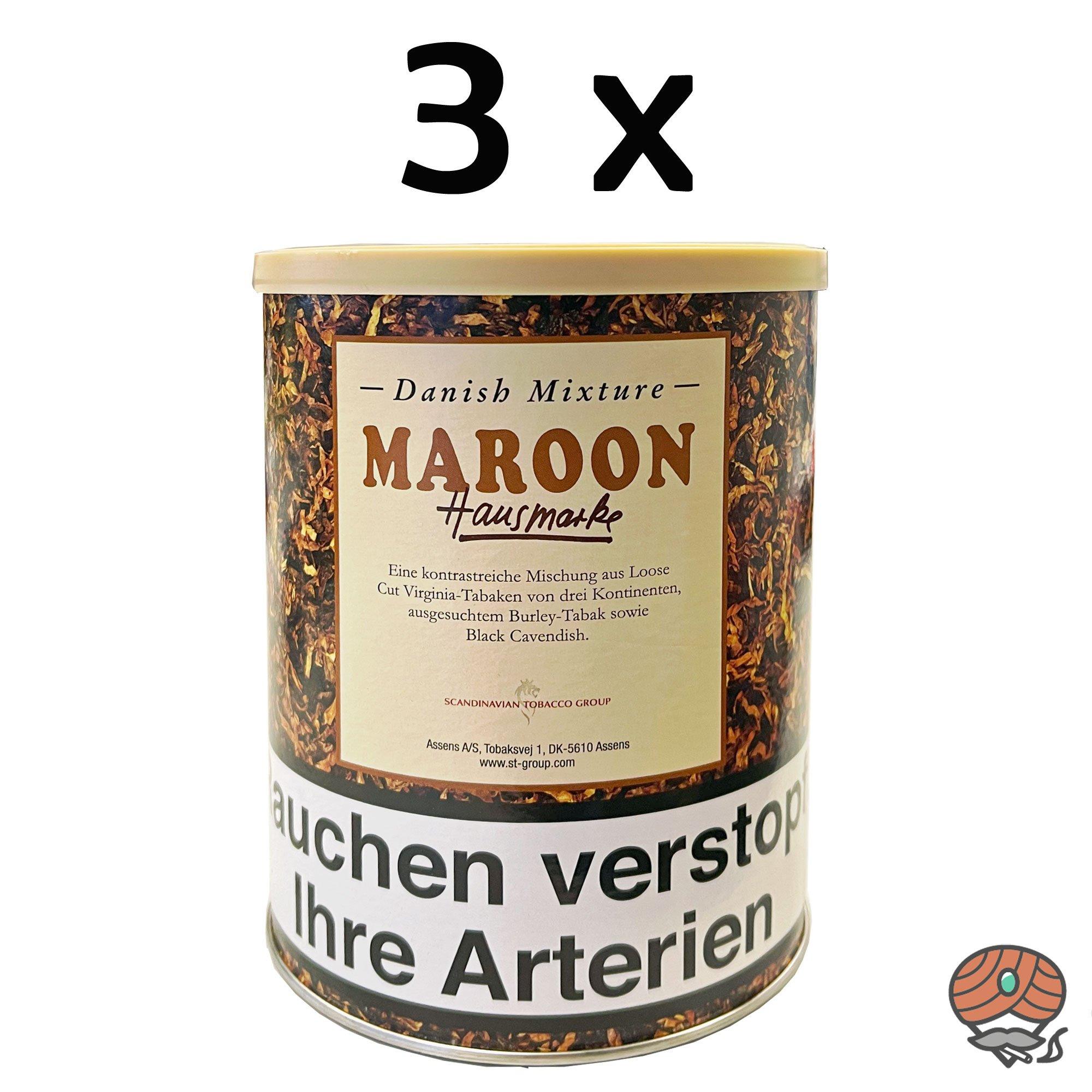 3 x Danish Mixture Hausmarke Maroon 200g Dose Pfeifentabak