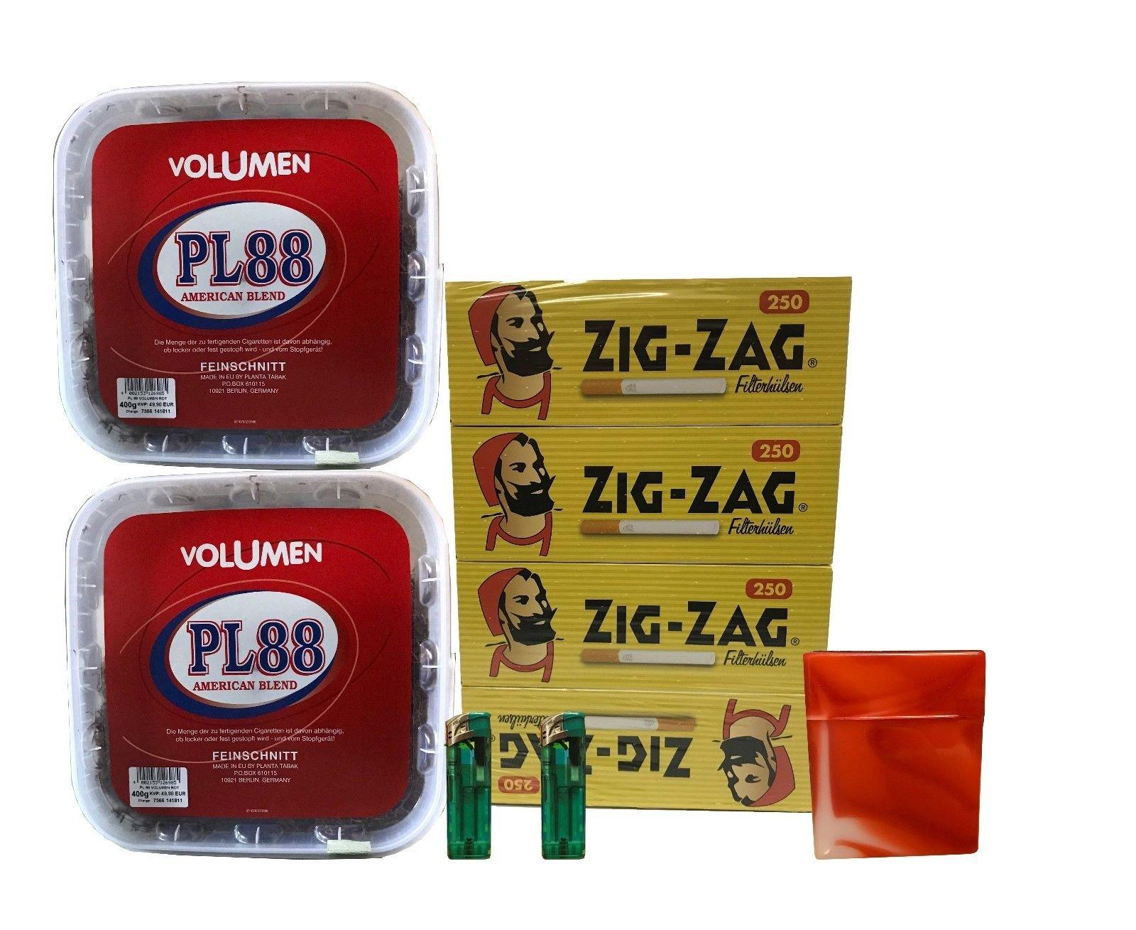 2x PL88 American Blend Tabak / Volumentabak 400g Eimer, ZigZac Hülsen + Zubehör
