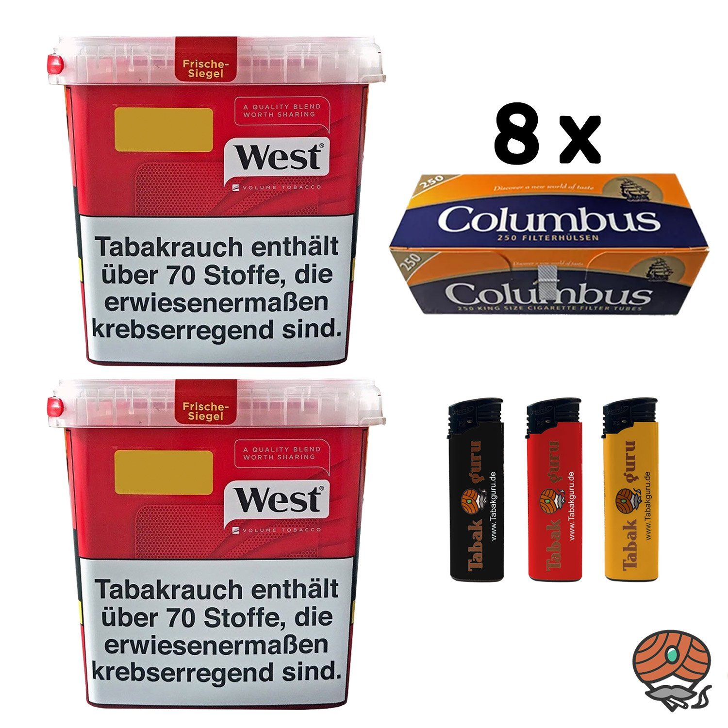 2x West Red Volumentabak 280 g, 2.000 Columbus Hülsen, Feuerzeuge