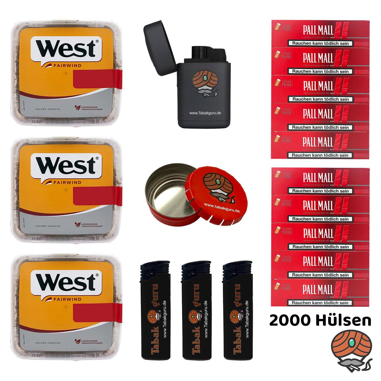 3x West Yellow Tabak Jumbo Box 185g, Pall Mall Xtra Hülsen, Box, Feuerzeuge