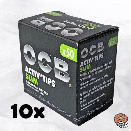 10 x OCB Activ Tips Slim / Aktivkohle Slim Filter à 50 Stück