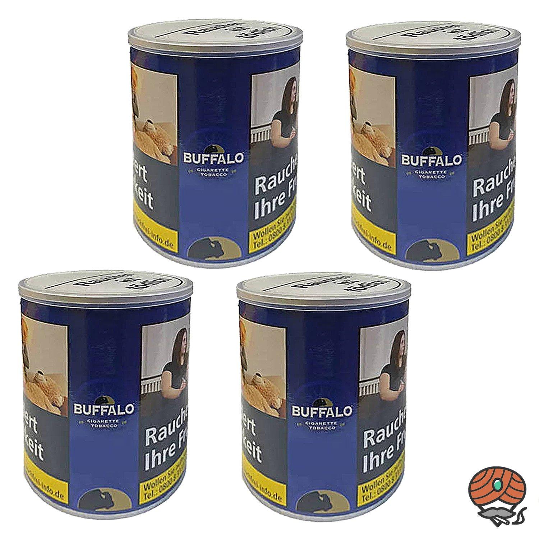 4x Buffalo Blue / Blau Feinschnitt Zigarettentabak / Drehtabak 150g Dose