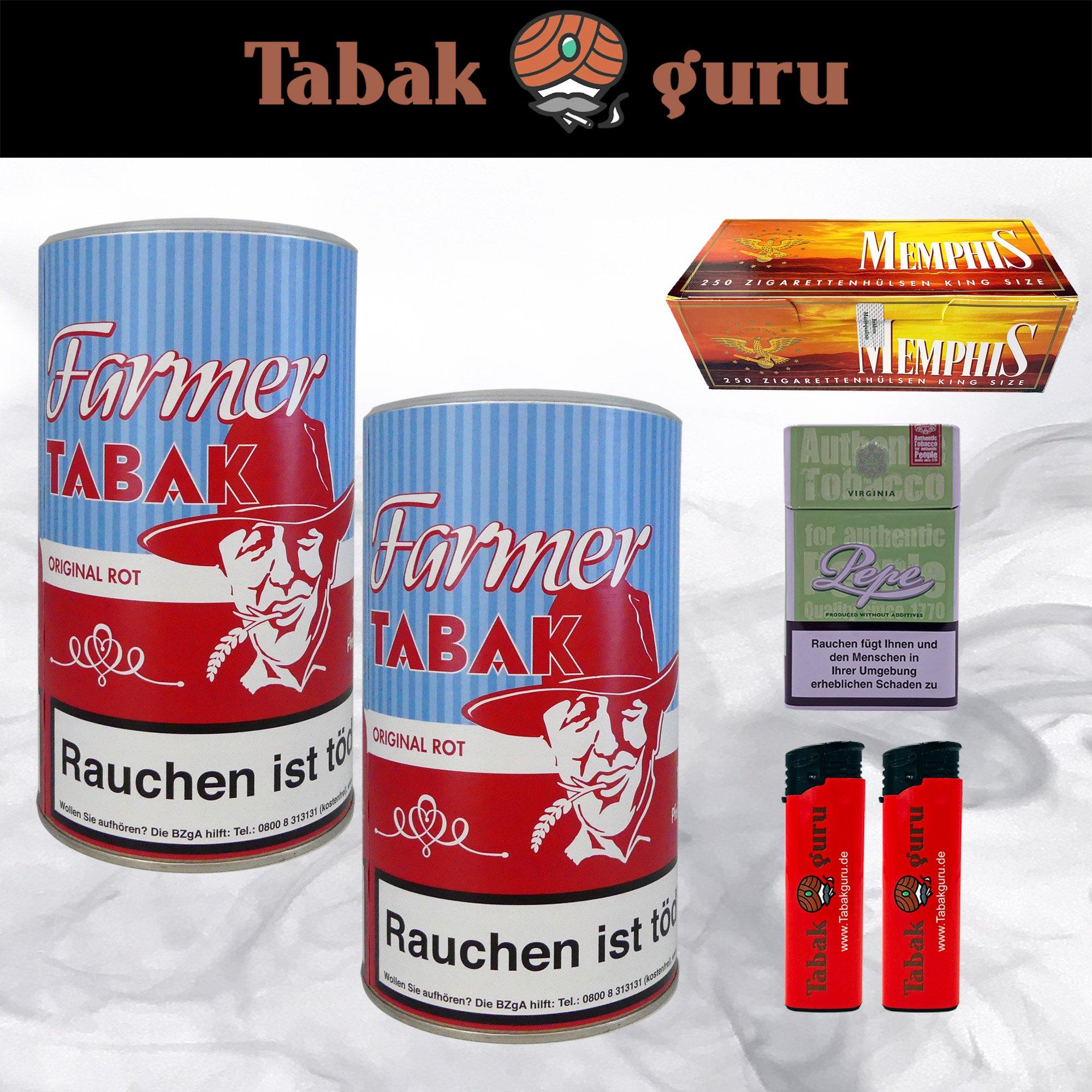 2 x Farmer Original Rot Pfeifentabak à 170g + Memphis Hülsen + Zubehör