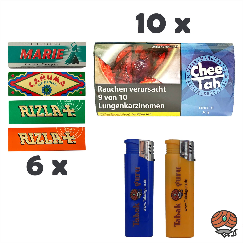 10 x Chee Tah Blau Half-Zware Shag Drehtabak Pouch, 6 x Papers