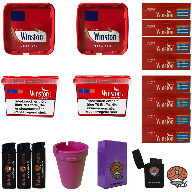 4x Winston Volumentabak Mega Boxes 170g, Winston Extra Hülsen + Zubehör