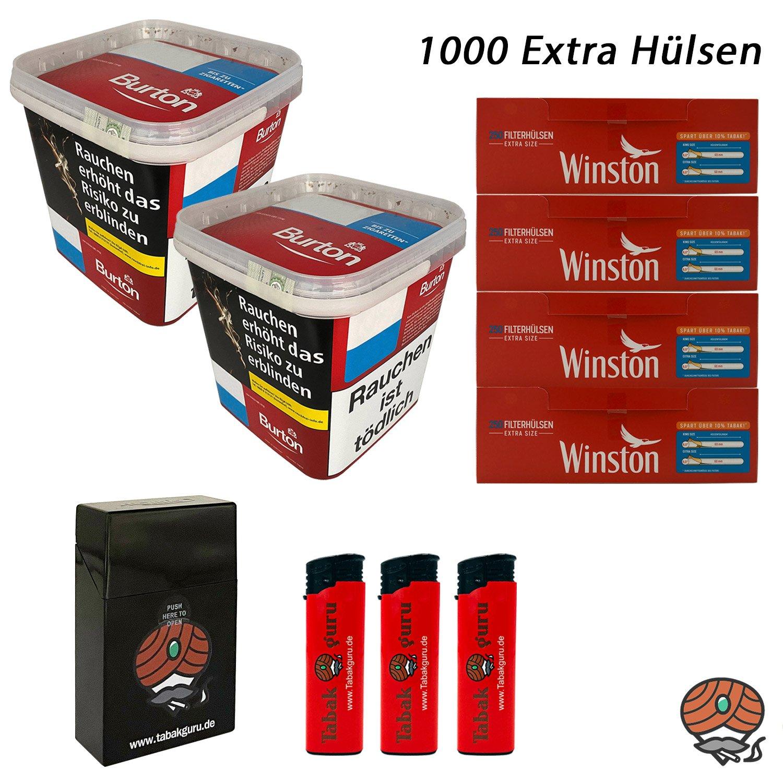 2x Burton Red Volumentabak / Zigarettentabak XXXL Eimer 350g + Winston Extra Hülsen