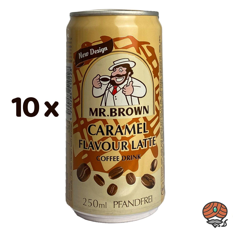 10 x Mr. Brown, Caramel Flavour Latte, Kaffeegetränk, 250 ml Dose