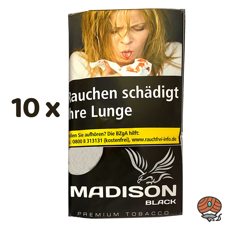 10 x MADISON Black Tobacco Zware Drehtabak à 30 g