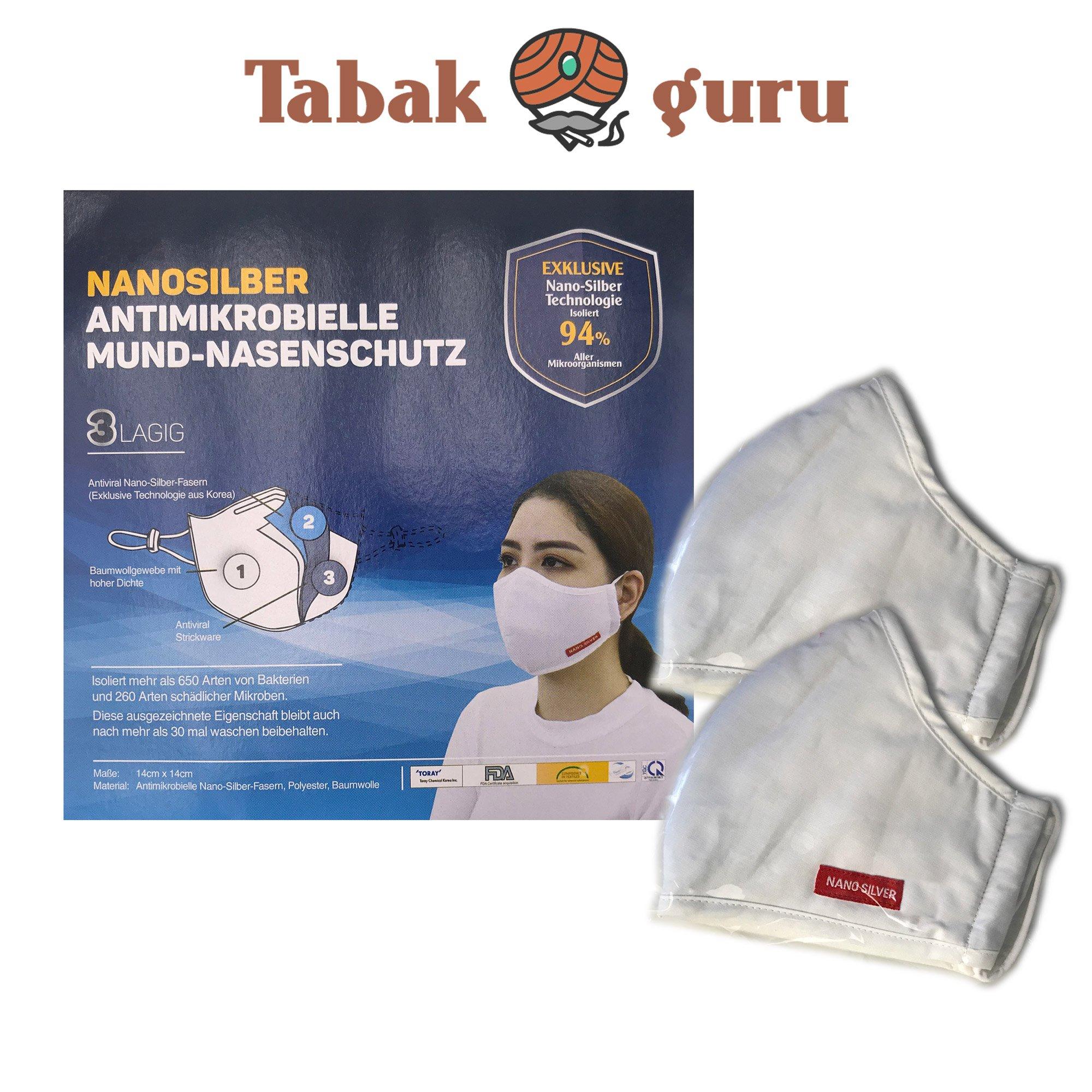 2 x Atemschutzmaske waschbar, Mund-Nasenschutz, Nanosilber, Antimikrobiell, 3lagig, waschbar
