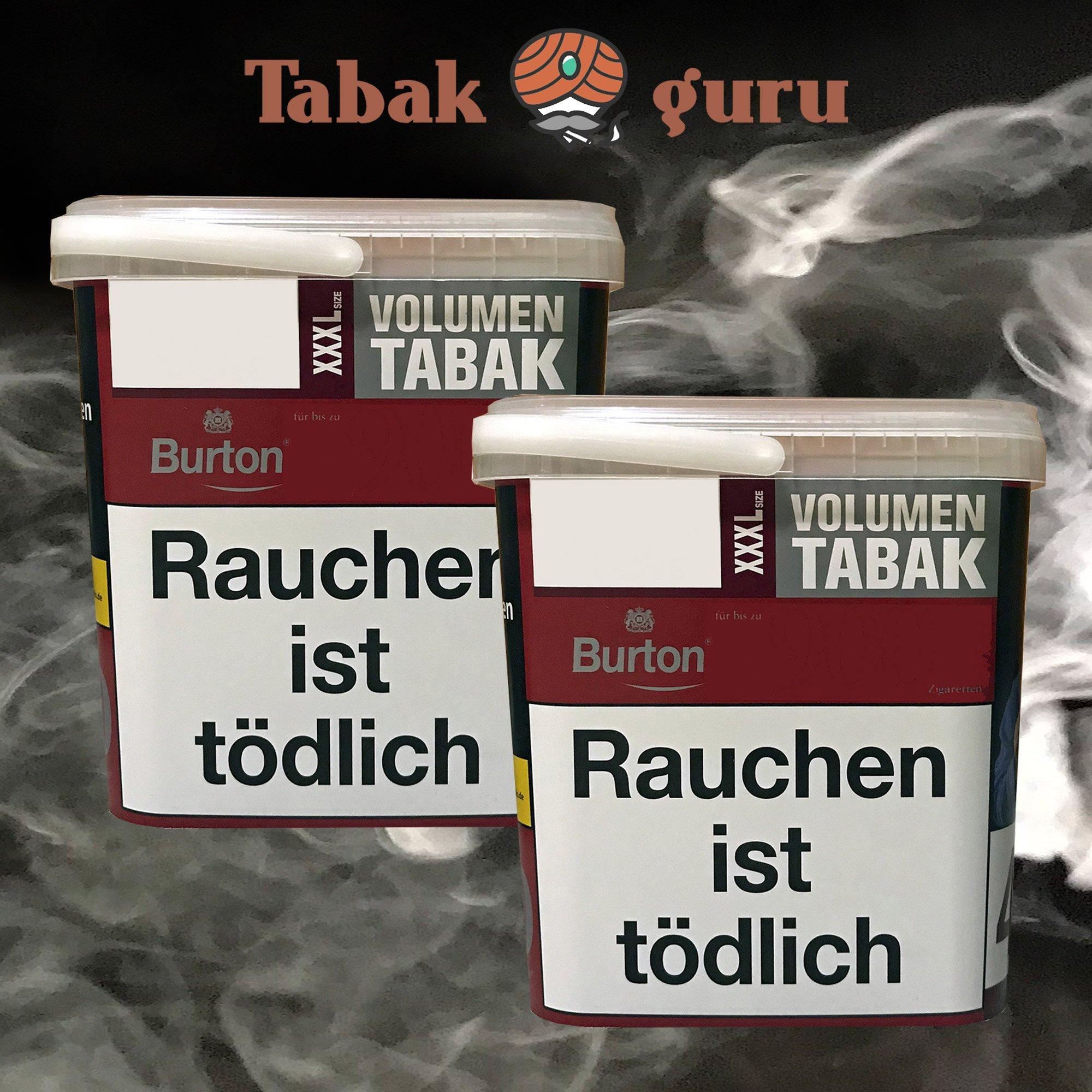 2x Burton Red Volumentabak / Zigarettentabak XXXL Eimer 370g