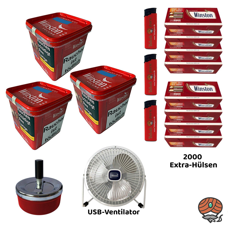 3x Winston Red/Rot Volumentabak Giant Box 260 g + Extra Hülsen + USB Ventilator