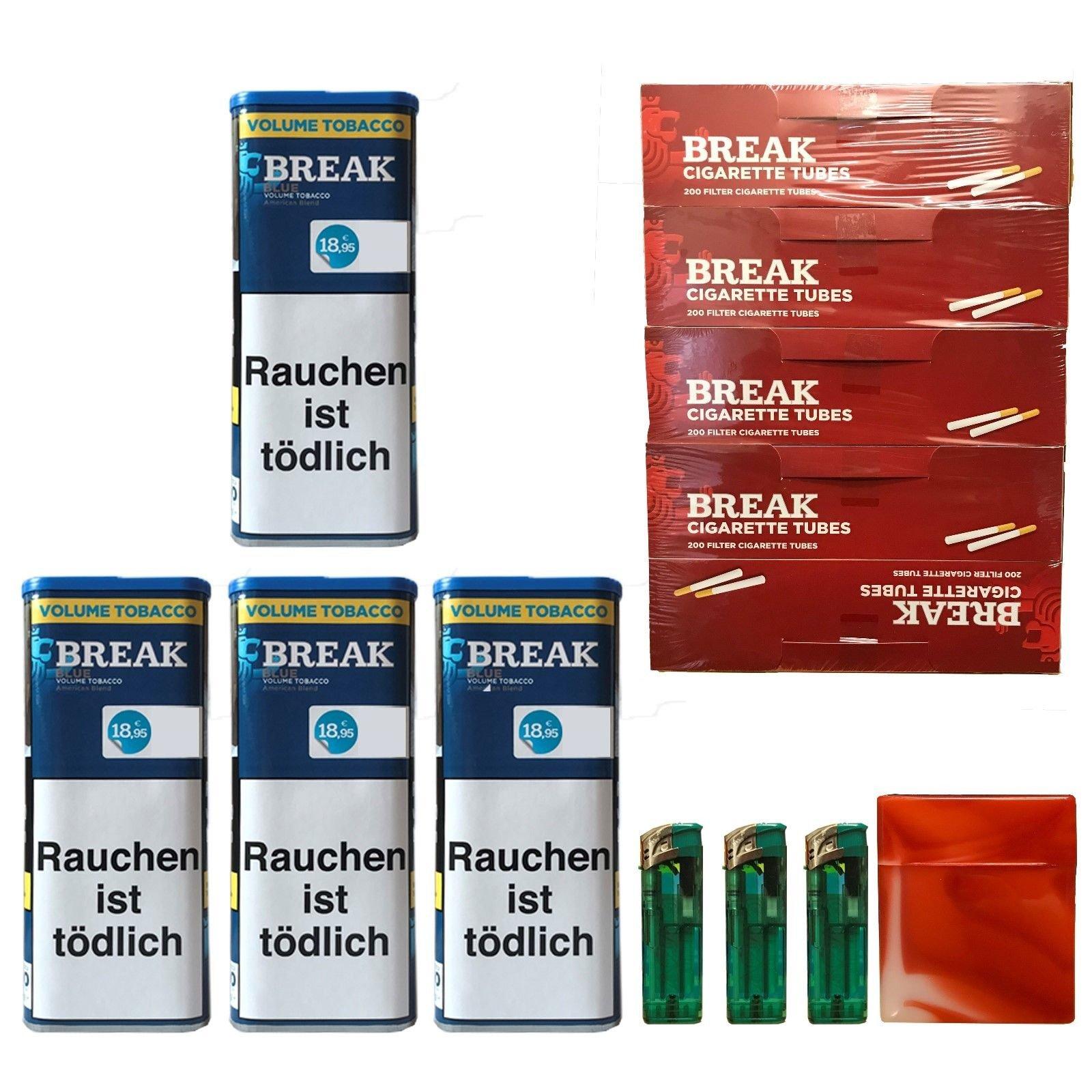 4x Break Blue/Blau XXL Volumentabak 120g, Hülsen, 3 Feuerzeuge, Box