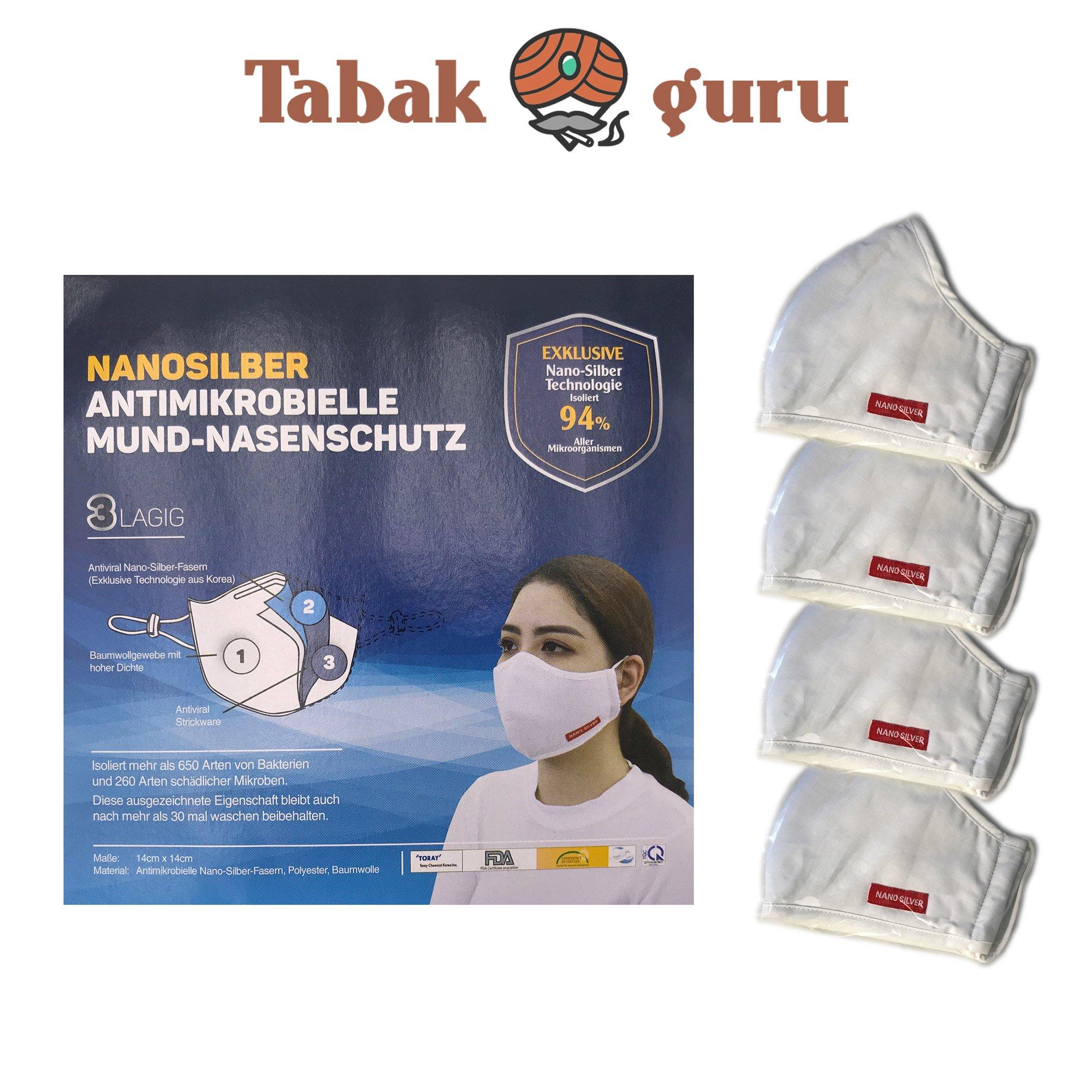 4 x Atemschutzmaske waschbar, Mund-Nasenschutz, Nanosilber, Antimikrobiell, 3lagig, waschbar