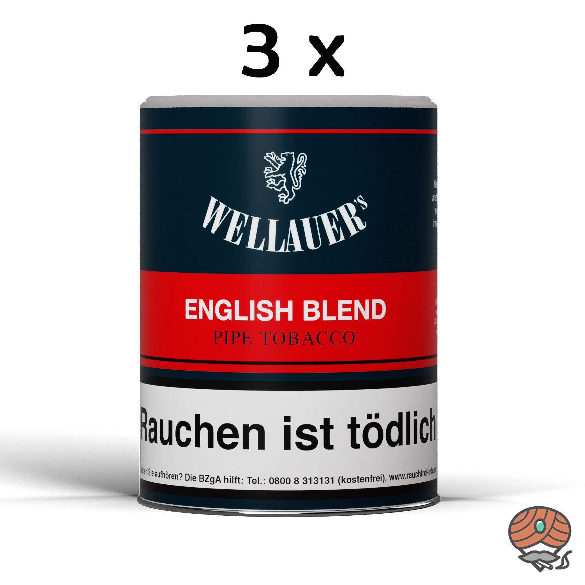 3 x Wellauer´s English Blend Pfeifentabak 200g Dosen