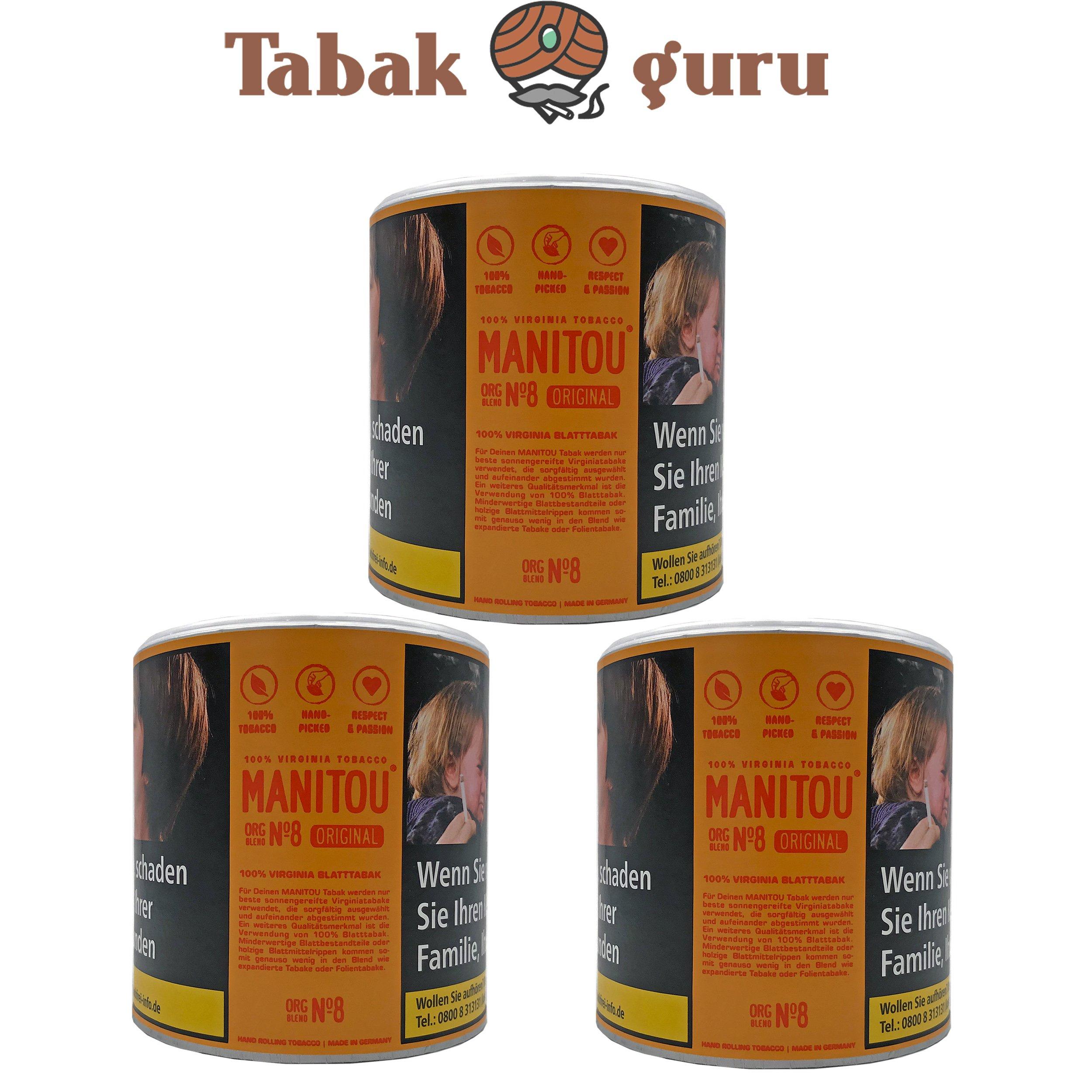 3x Manitou Orginal Blend No.8 80g Dose Drehtabak Zigarettentabak