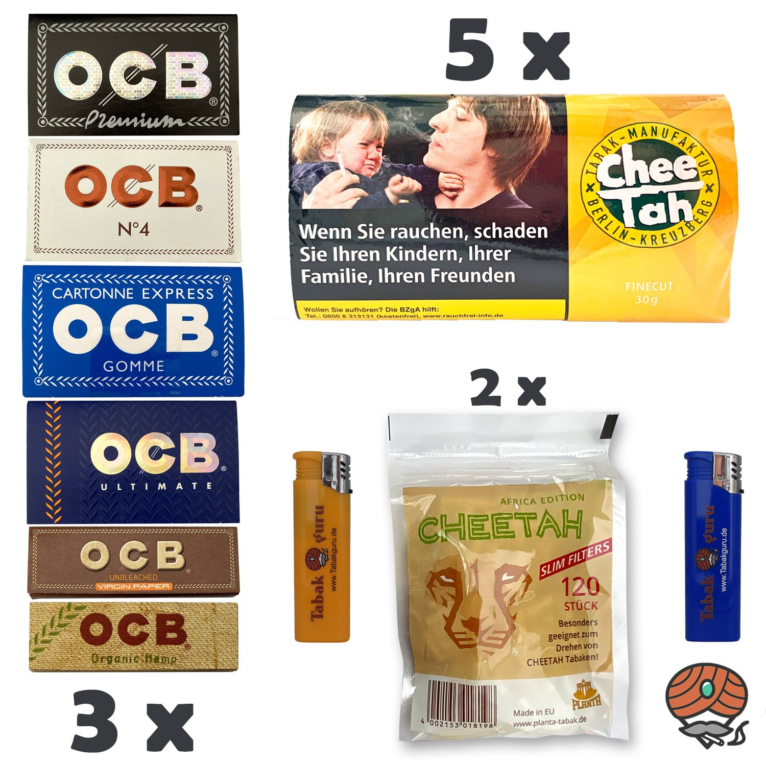 5 x Chee Tah Gelb Virginia Blend Drehtabak Pouch, 3 x OCB Papers, 2 x Slim Filter